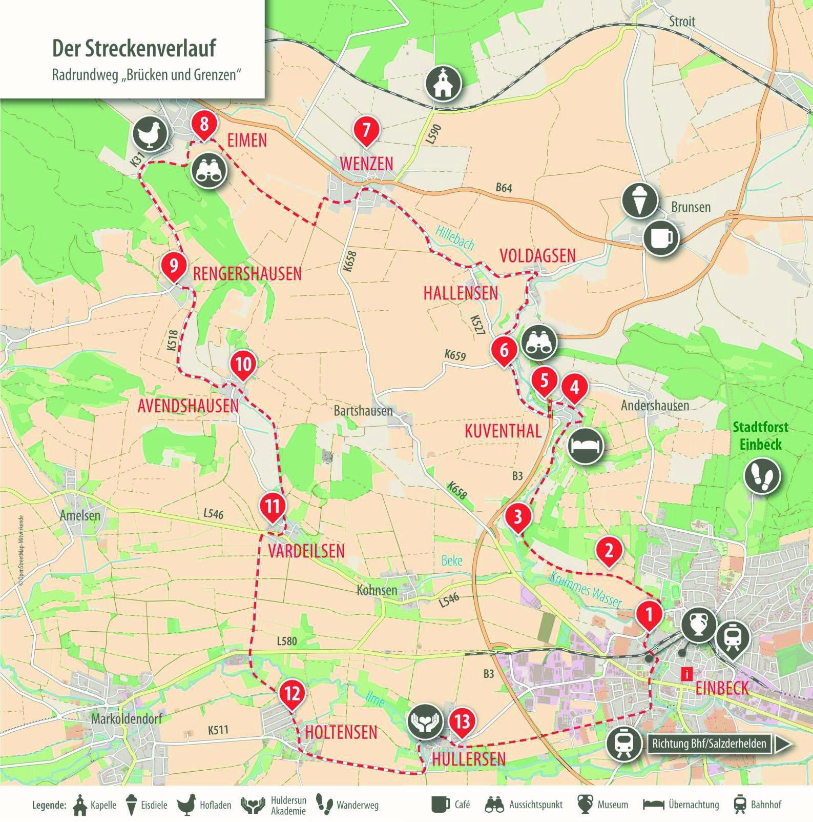 Karte Radrundweg Brücken und Grenzen