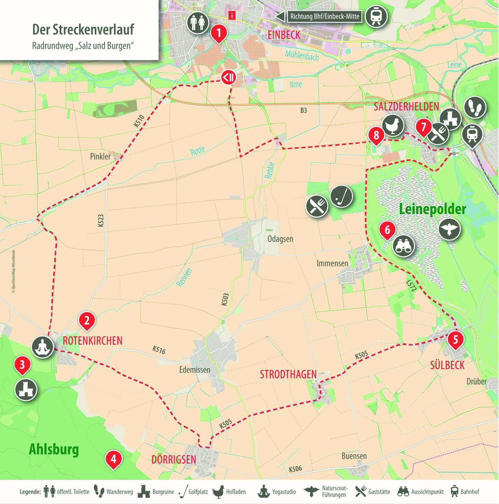 Karte Radrundweg Salz und Burgen